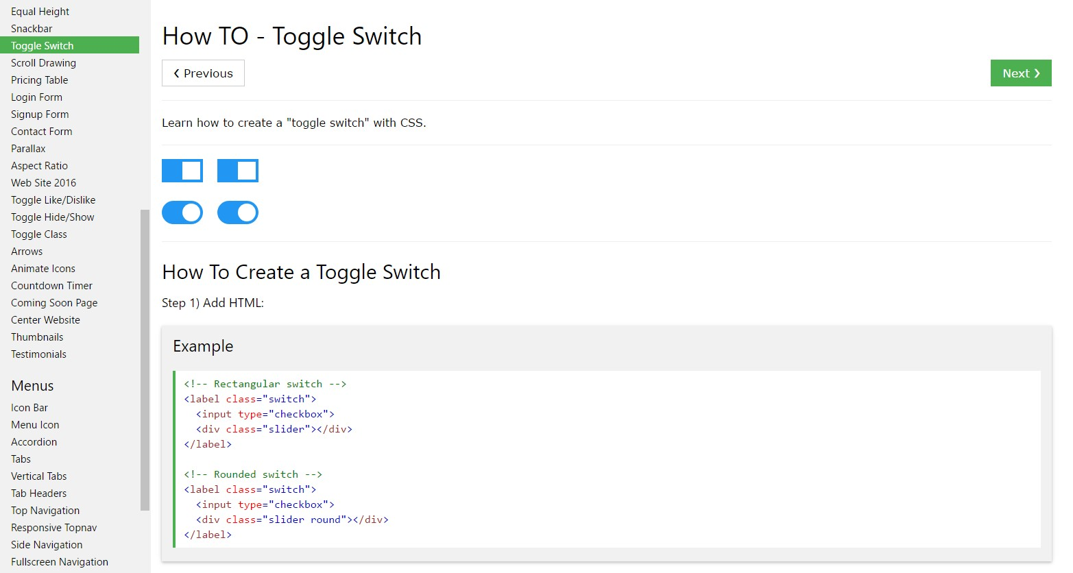 Exactly how to  generate Toggle Switch
